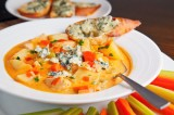 BUFFALO CHICKEN POTATO CHOWDER with BLUE CHEESE CROSTINI