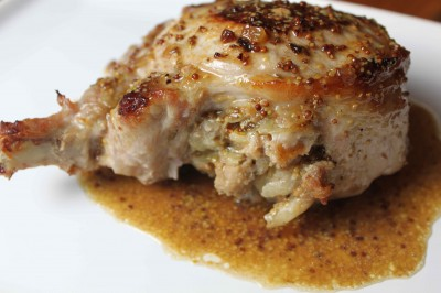APPLE-STUFFED PORK CHOPS with CIDER SAUCE